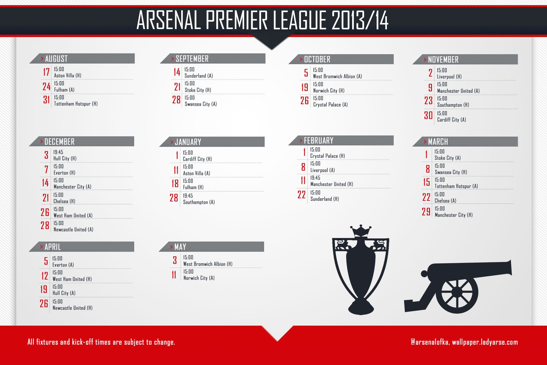 arsenal 20132014 season fixture list canoncrested